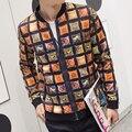 Новый 2016 осень китайский стиль моды старинные плед печати бомбардировщик куртка мужчины jaqueta masculina мужская одежда размер m-4xl JK3-2