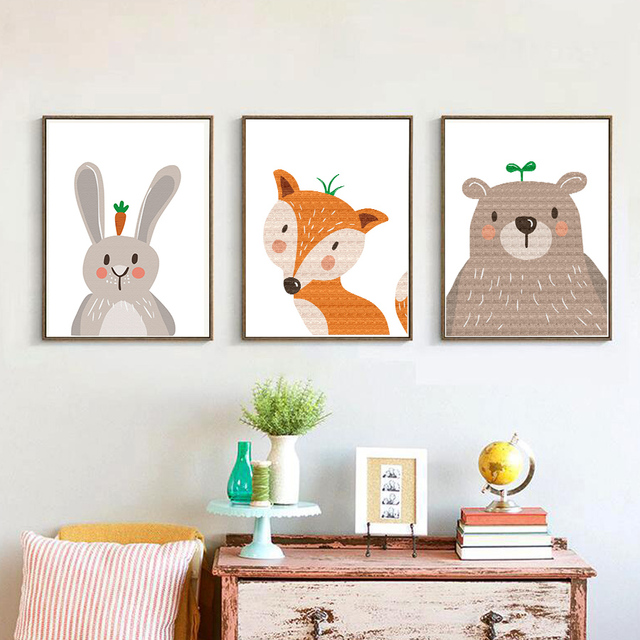 Nordic cartoon cute giraffe rabbit bear fox canvas art print painting poster wall pictures for living