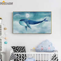 Children's Room Lovely Cartoon Animal Whale, Modern Warm Home Decoration Canvas Print Painting Poster Art Wall Picture Wall Art