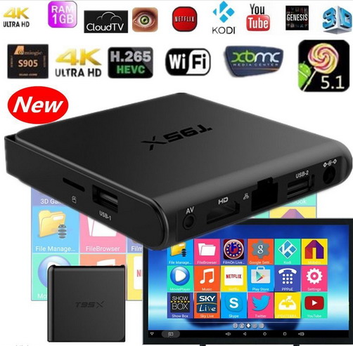 Android tv box Amlogic T95X S905X Quad Core Android 6.0 TV Box 2.4G KODI H.265 B