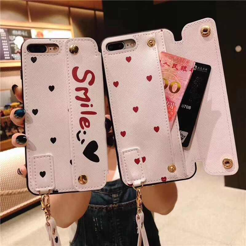 Luxury Smile Cute Love Pattern Wallet Have Stand Cover Phone Cases For iPhone 8 7 6 6S Plus X XS XR MAX With lanyard Back Funda