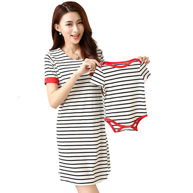 2016 Breastfeeding Clothes Korean Summer Slim Striped Women Dresses Newborn Short Sleeve Jumpsuits Mother Baby Outfits tyh-50723