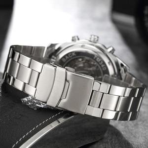 Image 4 - יוקרה כסף אוטומטי מכאני שעונים לגברים שלד נירוסטה עצמית רוח שעון יד גברים שעון relogio masculino