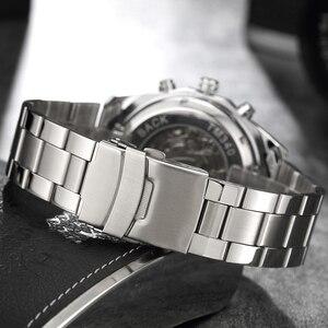 Image 4 - Lüks Gümüş Otomatik mekanik saatler Erkekler için İskelet Paslanmaz Çelik öz rüzgar kol saati Erkekler Saat relogio masculino