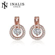 INALIS White Bella Crystal Earrings For Women Real Crystal From Swarovski Fashion Stud Earrings Party Jewelry Accessories E943