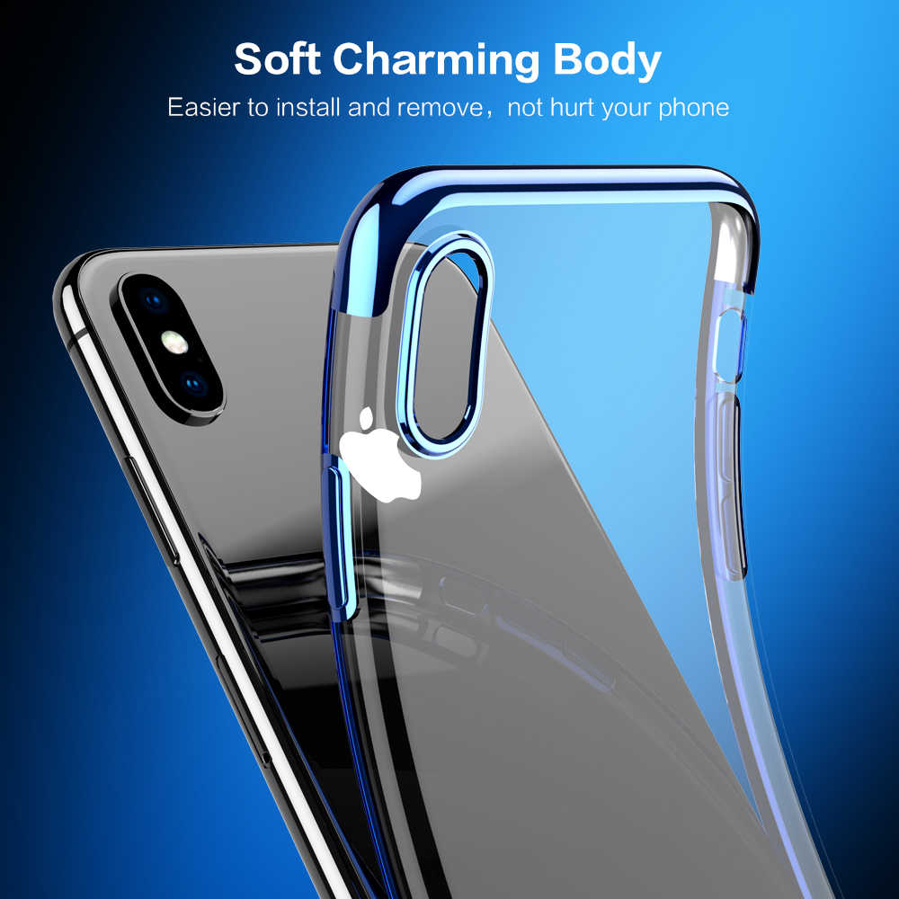0f393a209 ... FLOVEME Case For iPhone X XS Max 7 8 Luxury Plated Clear Soft TPU Cover  For ...