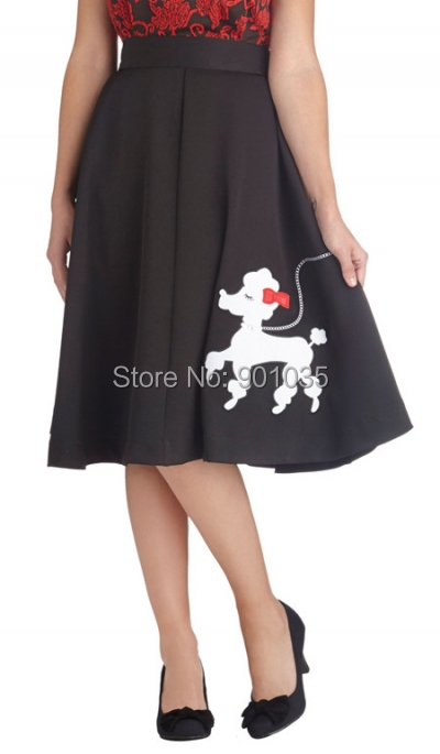 Free Shipping Rock N Roll 50s Polka Dot Poodle Swing Skirt Grease Rockabilly size 8-16