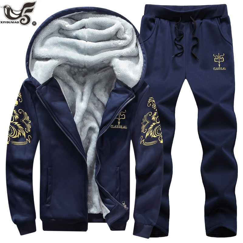 XIYOUNIAO Plus Size M~8XL 9XL Casual Tracksuit Men Winter Brand 2pcs Sets  Fleece Thick Hooded Jacket+Pants Sporting Suit Male