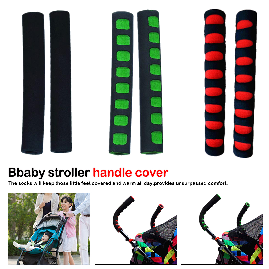 2pcs Baby Stroller Handle Cover Push Tube Cart Sleeve EVA Foam Covers Armrest Soft Protector Grips Accessories High Quality(China)