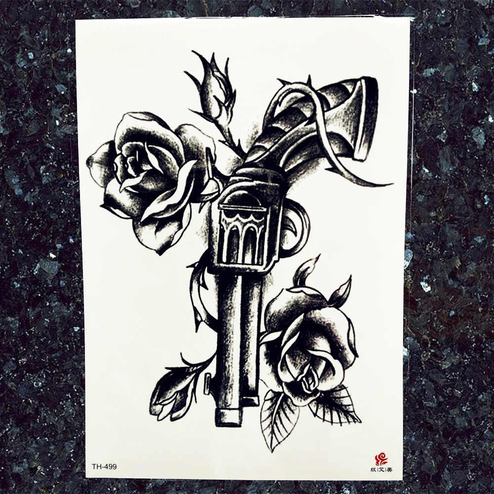 Tatuajes falsos negros impermeables pegatinas para mujer brazo pistola flor tatuajes brújula temporal hombres cuello pecho tatuos Frearms suministros