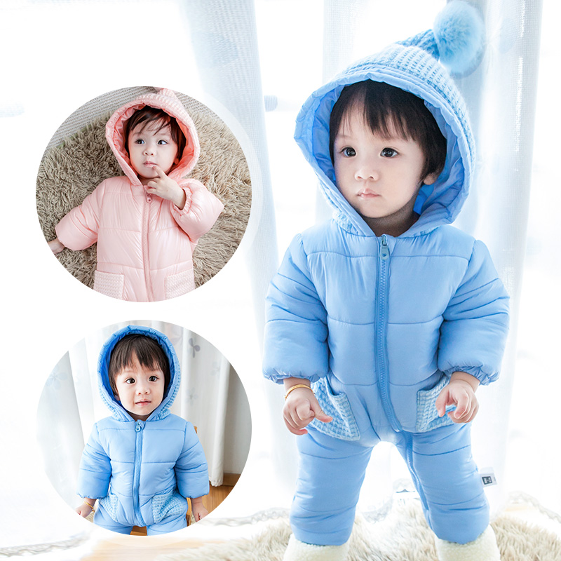 6-18M Winter Warm Cotton Padded Baby Rompers Newborn Baby Girls Boys Clothes Long Sleeve Snow Wear Hooded Jumpsuit Infantil spring baby boys girls clothing winter baby hooded rompers cotton padded kids warm overalls climb clothes for newborn babies