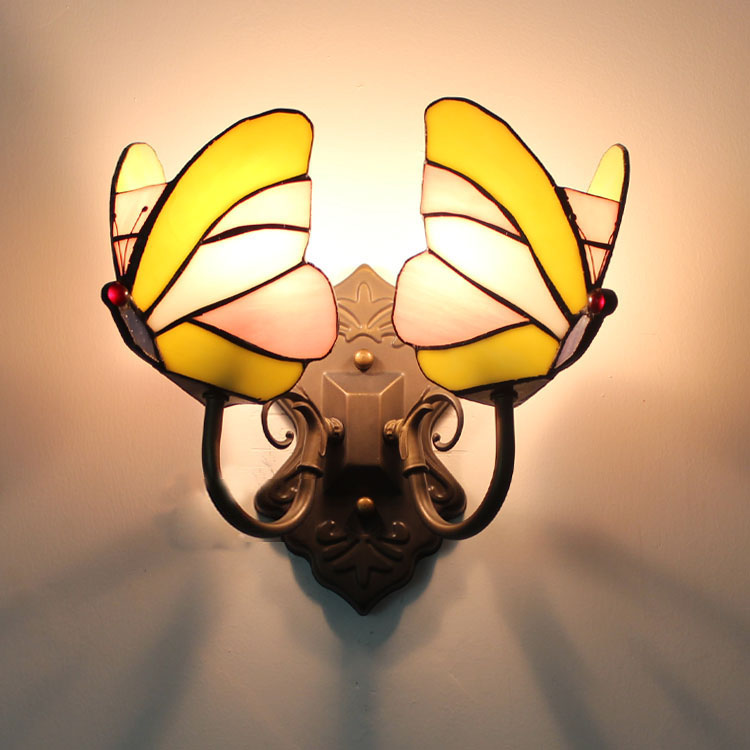 Modern Beautiful Colorful Tiffany Glass Butterfly Metal Lamp Wall Mounted Nightlight Single / Dual Heads for Aisle Bedroom Bar