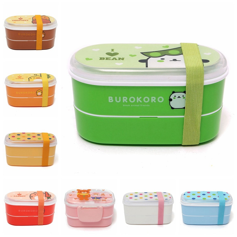 Resultado de imagen de Cute-Dual-Layer-Lunch-Box-Kids-Cartoon-Bento-Outdoor-Portable-Healthy-Plastic-Microwave-Food-Container-Japanese