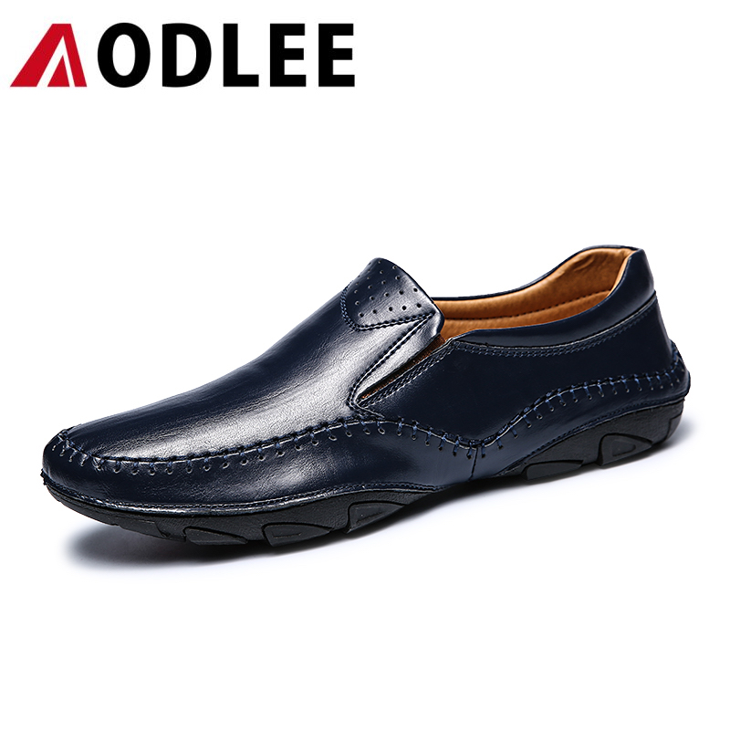 AODLEE 2017 New Fashion Men's Loafers Men Flats Shoes Casual Men Shoes Genuine Leather Slip on Zapatos Hombre Men Driving Shoes fashion nature leather men casual shoes light breathable flats shoes slip on walking driving loafers zapatos hombre