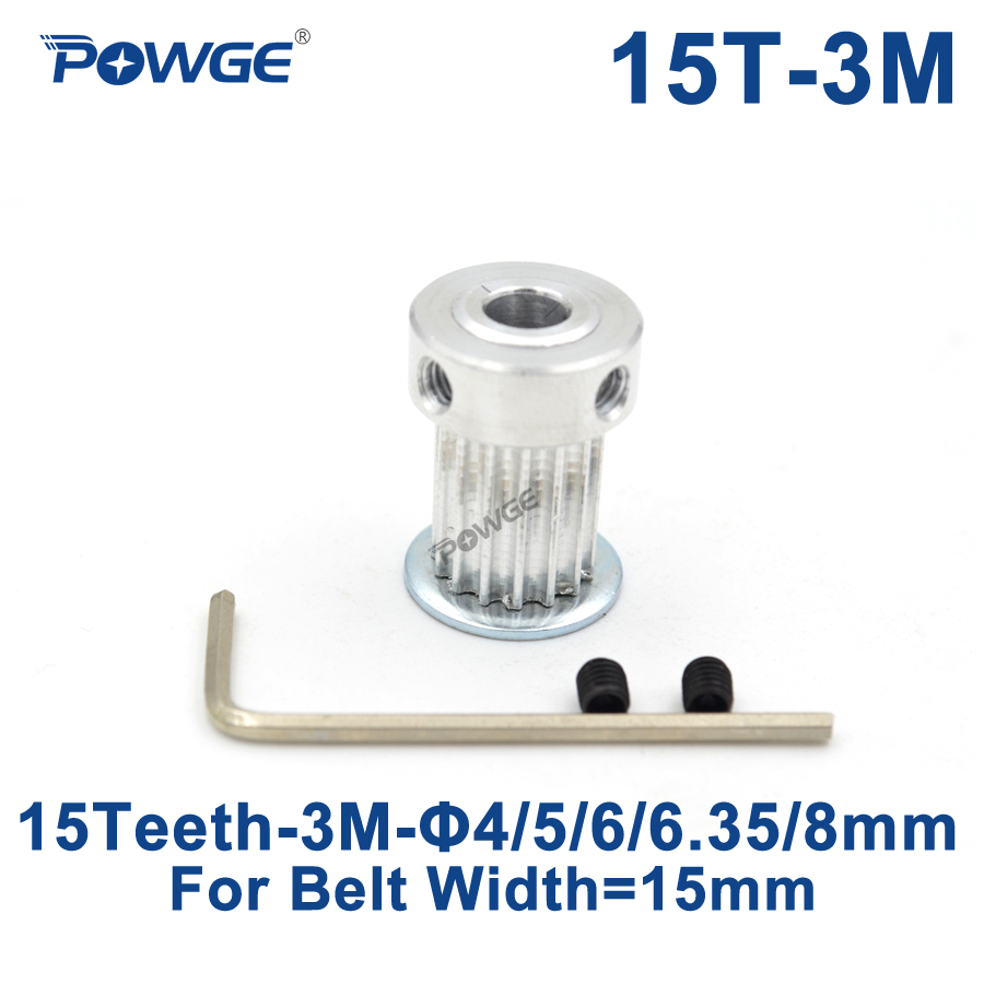 POWGE 1pcs HTD 3M Timing Pulley 15 Teeth Bore 4/5/6/6.35/8mm for Width 15mm 3M Synchronous belt HTD3M Pulley 15Teeth 15T CNCPOWGE 1pcs HTD 3M Timing Pulley 15 Teeth Bore 4/5/6/6.35/8mm for Width 15mm 3M Synchronous belt HTD3M Pulley 15Teeth 15T CNC