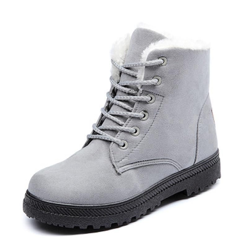 Image 2 - Женские зимние сапоги, зимние теплые женские сапоги, большие размеры, обувь на плоской подошве со шнуровкой, Женская хлопковая обувь на толстом меху, большие размеры 35 44, WSH2461-in Теплые сапоги from Обувь