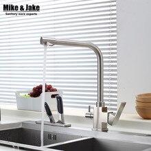 304 НЕТ PB Кухонный Кран Смесители двойной функция три пути кухонный Кран Питьевой Воды для Фильтрации 3 Ходовой Смеситель Torneira