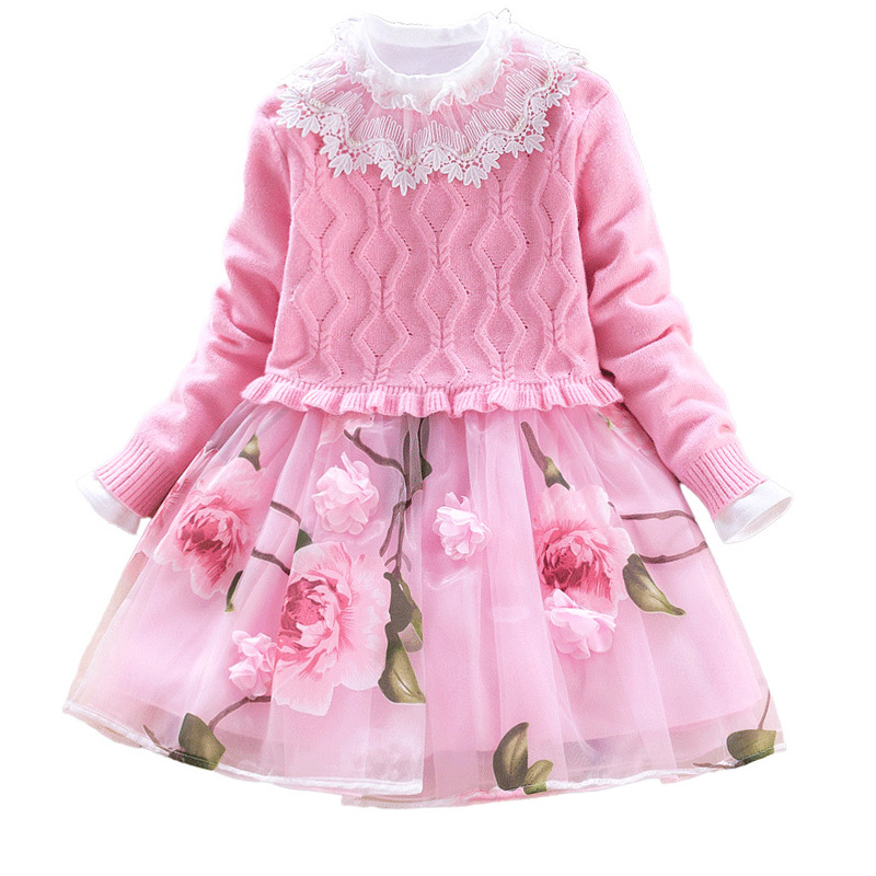 Girls Dress 2018 Autumn Winter Girls Pullover Knitted Sweaters Dress Long Sleeve Flower Kids Knitwear Dress DQ988 bear leader girls dress 2018 winter pullover knitted sweaters ball gown dress long sleeve outerwears o neck kids knitwear 3 7y