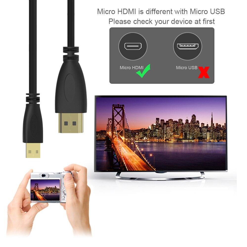 Robotsky высокоскоростной пружинный Micro HDMI к HDMI кабель позолоченный поддерживает Ethernet 3D 4K Аудио возврат Кабо для HDTV XBox планшета