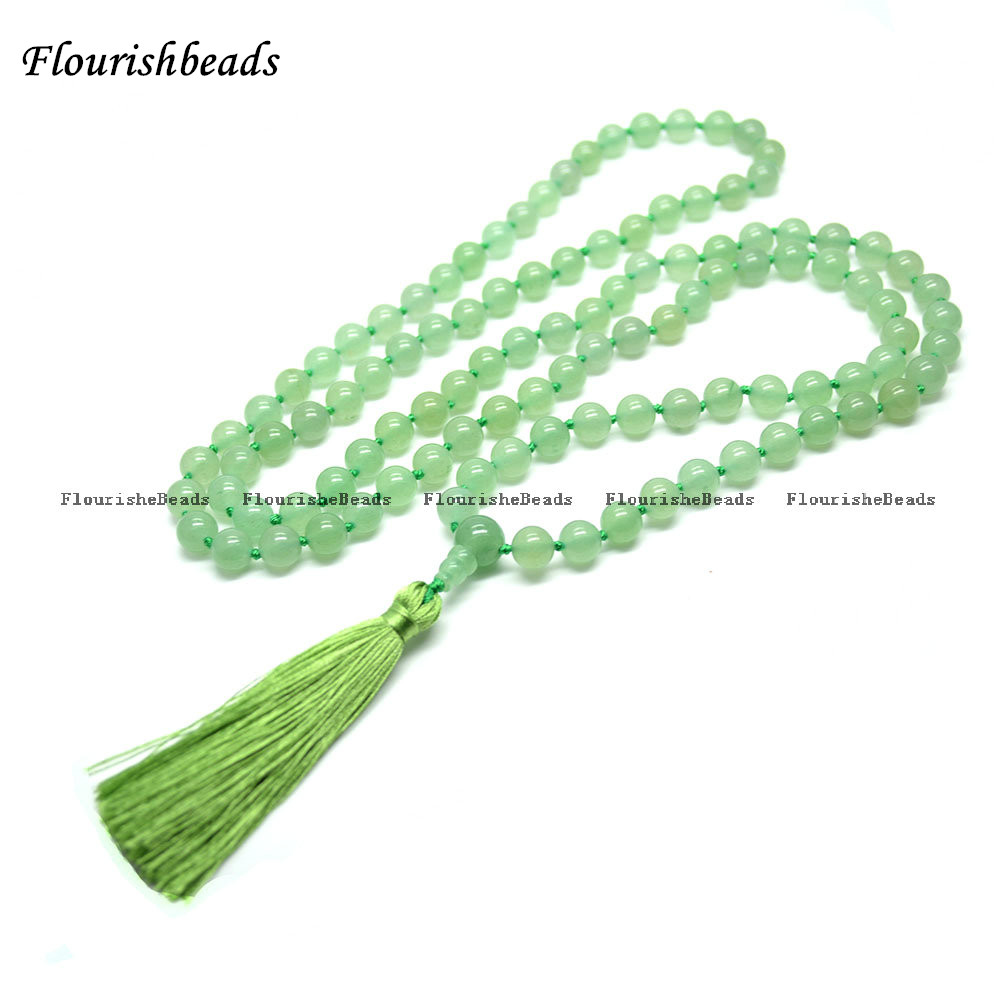 86bd9074d7e6d US $46.92 8% OFF|Natural 8mm Green Aventurine Jade 108 Stone Round Beads  Tassel Pendant Kontted Mala Prayer Necklace-in Necklaces from Jewelry & ...