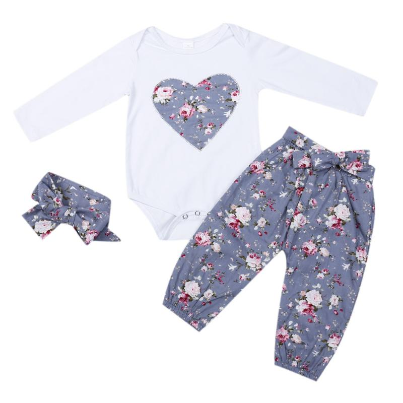 Baby Girls Cloth Set 3PCS Floral Heart Print Romper Tops + Small Flower Pants Leggings + Bow Headband Sweet Baby Girl Soft Set ...