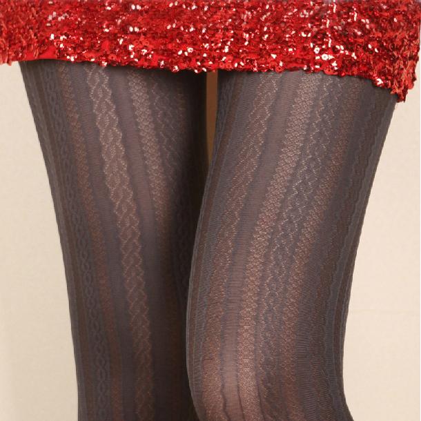 Envío libre [Amor] alambre de torsión que basa calcetines tutuanna enrejado de diamante gris hueco rayas jacquard pantimedias primavera y otoño