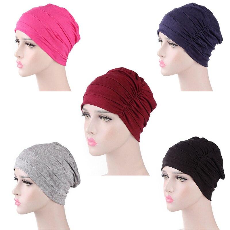 Solid Color Women Turban Hat India Muslim Ruffle Chemo Hat Ladies Beanie Scarf Head Wrap Elastic Stretchy Cap
