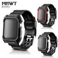 MNWT Für Apple Uhr 1 2 3 TPU Schutzhülle Mit Strap Bands Armband für Apple Uhr 38mm 42mm Serie 1 2 3 für iwatch Band-in Uhrenbänder aus Uhren bei