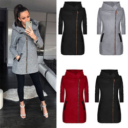 Autumn Winter Coat Women Casual Warm Zipper Collared Plus Size Hooded Pockets  Turtleneck Female Jacket Tops Outwear 3XL 4XL 5XL 6