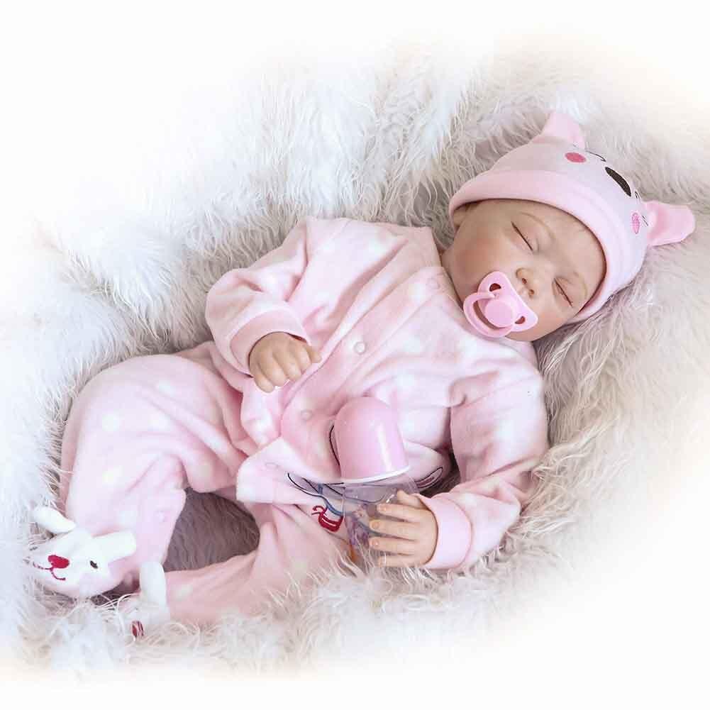 NPK 22 Inch Lifelike Silicone Reborn Doll Set Realistic Sleeping Baby Newborn Dolls for Kids Gift M09