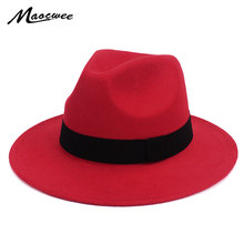 aa33451fd64d1 Black Jazz Fedoras For Women Vintage Wide Brim Fedora Hat Floppy Cloche Men  Gangster Hat Chapeu Casual Solid Pink Red Bones 2018