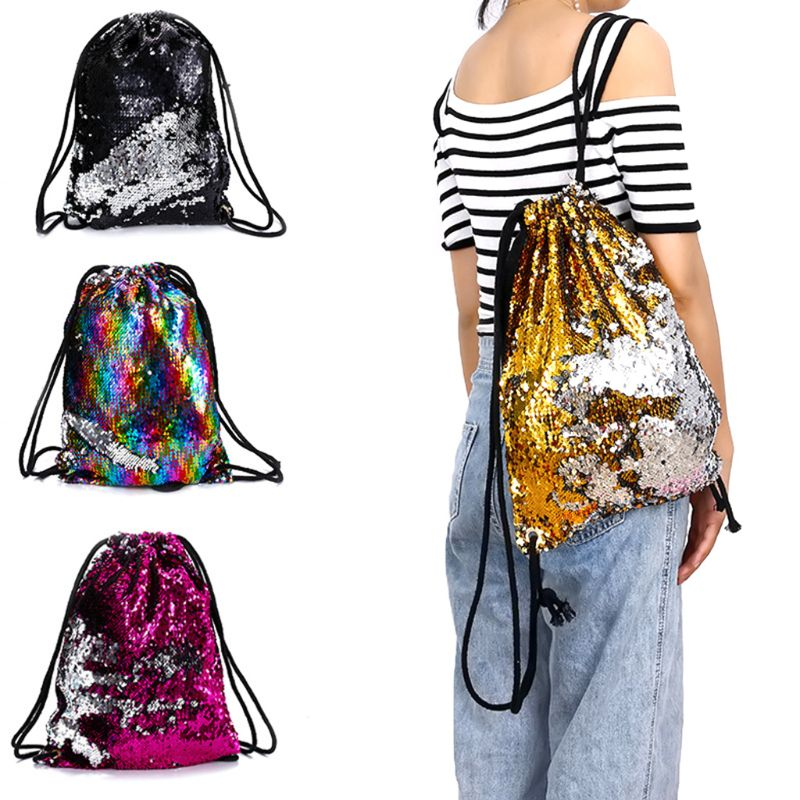 Details About Fashion Reversible Sequin Drawstring Backpack Glitter Cinch Pack Bags Flip