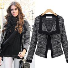 2019 Woman Autumn Winter European Long Sleeve Cardigan Loose Suit Short Base Coat Frayed Black Gray Plus size Jackets Coats Cool(China)
