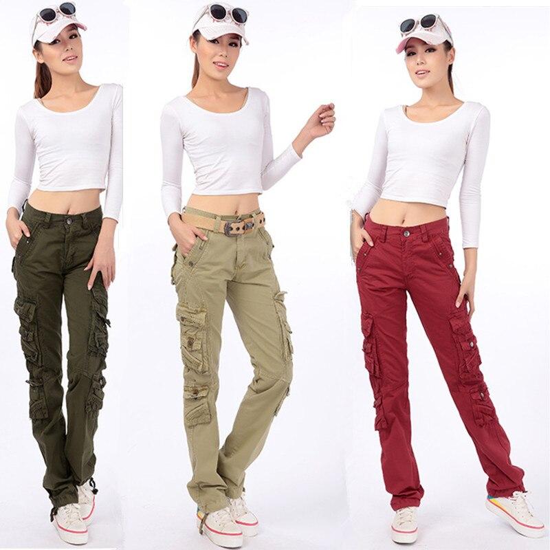 Ladies Army Green Pants Military Cotton Cargo Pants Women