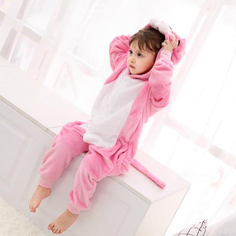 Funny Pink Panther Onesie Kids Kigurumi Pajamas Baby Cartoon Slippers Pyjamas Cosplay Children Jumpsuit Winter Sleepwear