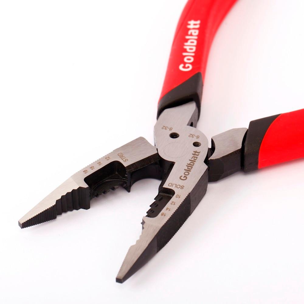 Goldblatt 8 inch Long Nose Pliers Multi Functional Plier Cable Wire Cutter Plier