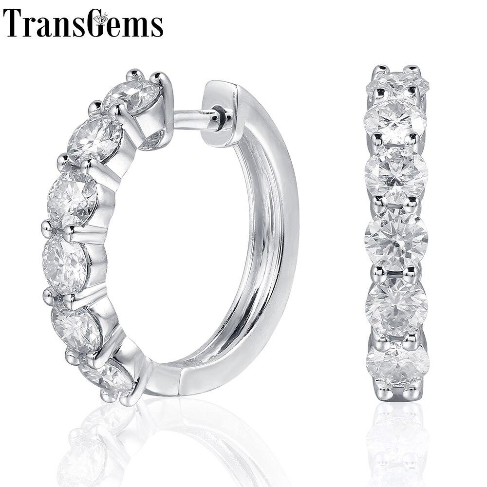 TransGems платиновым покрытием серебра 1.8ctw 3,5 мм H Цвет Муассанит Имитация Алмазный Хооп Серьги для Для женщин Fine Jewelry