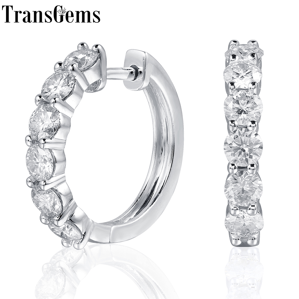 TransGems Platinum Plated Sterling Silver 1.8ctw 3.5mm H Color Moissanite Simulated Diamond hoop Earrings for Women Fine Jewelry transgems platinum plated silver 2 15ctw 5x7mm h color cushion cut moissanite simulated diamond earrings for women