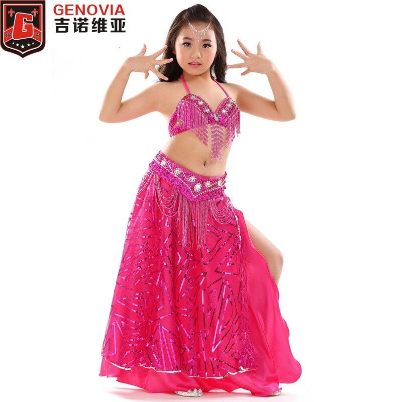 Children's Performance Belly Dance 3-piece Oriental Dress Bra Belt Kids Girls Belly Dance Costume (top,belt,skirt) 8 Colors