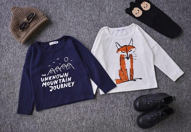 Бобо выбирает фокс шаблон лоскутное мальчиков одежда детская одежда с длинными рукавами футболки зима одежда vetement enfant детские топы