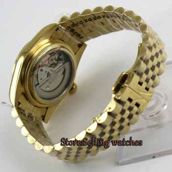 Luxury 36mm Parnis yellow gold dial Date Miyota automatic mens watch