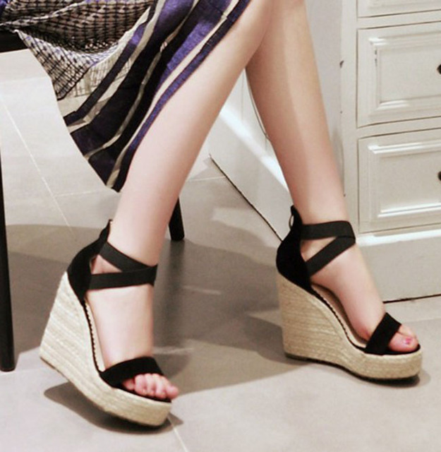 a58b9eb8b65 Suede women wedges sandals elastic band platform high heel pumps lady beach  sandals beige hemp rope sole black pink