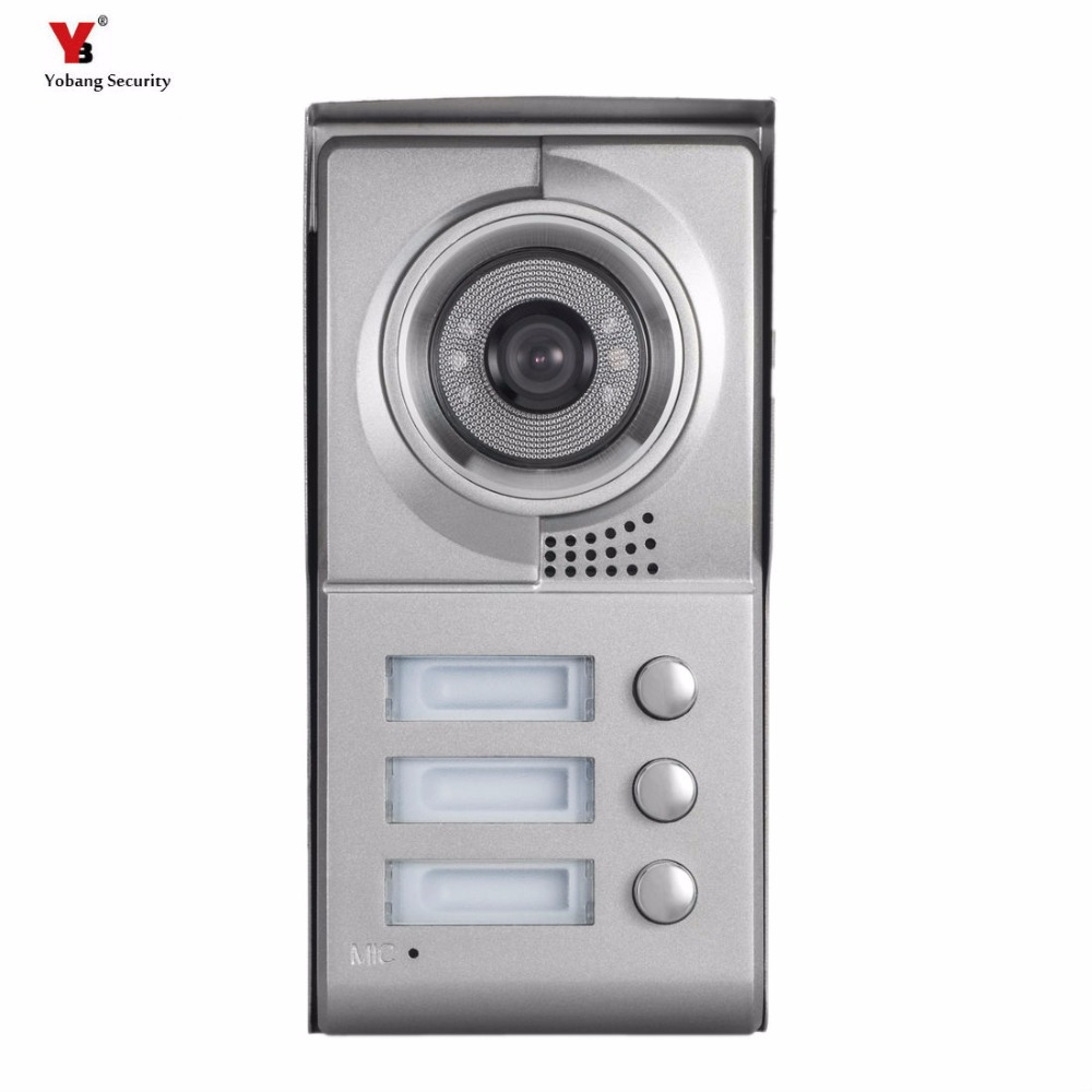 Yobang Security 3 Buttons Door Camera For 3 Units Apartment Video Intercom Doorbell Door Phone System