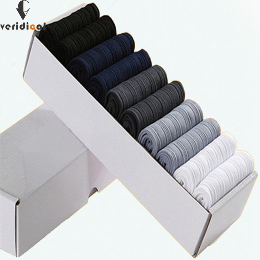 VERIDICAL 10 Pairs/lot/box Brand New Men Bamboo Fiber Socks High Quality Business Casual Anti-Bacterial Man Long Work Cheap Sock