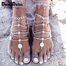 2019 New Fashion Summer Sexy Silver Tassel Anklet for women Coin Pendant Chain Ankle Bracelet Foot Jewelry Barefoot Sandal