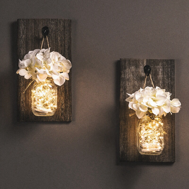 Ins Rustic Mason Jar Wall Sconces With Led Fairy Lights Flowers For Country Home Wedding Cafe