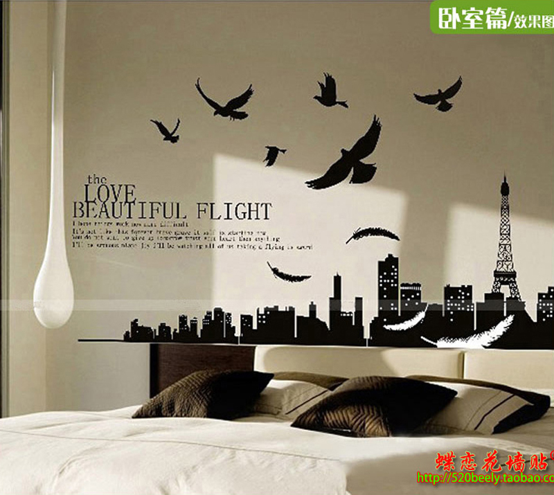 1pcs paris city eiffel tower stickers wall decals living room