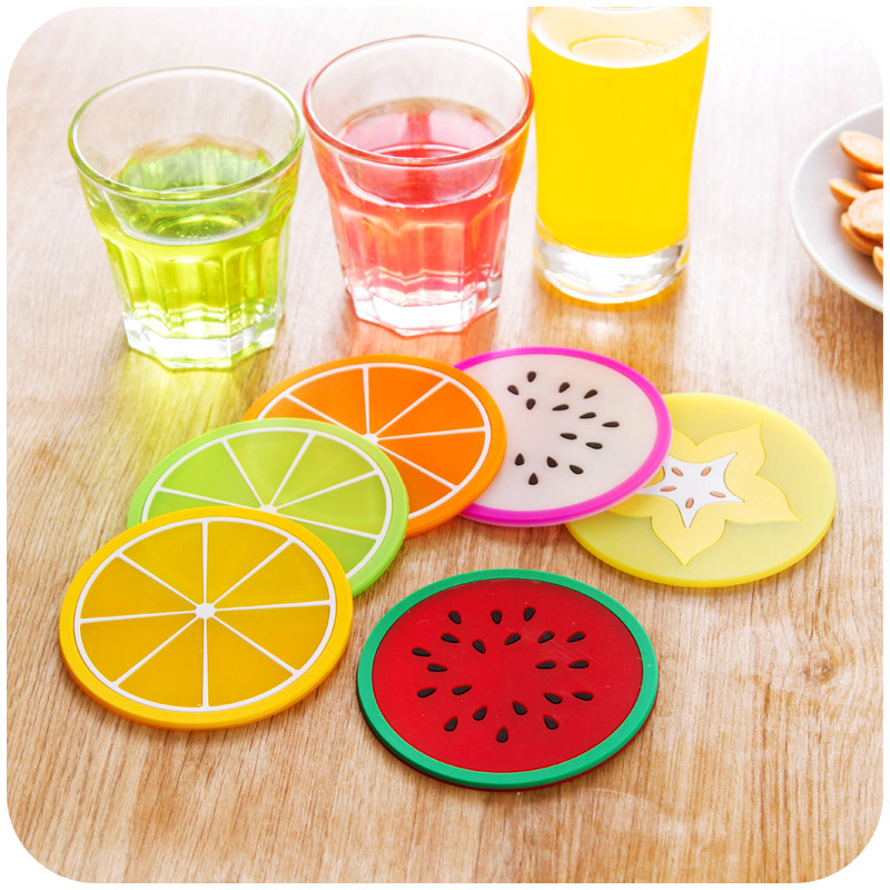 24 pcs/Lot Silicone Fruit cup placement Table pad Pitaya Lemon Watermelon Stationery items gift Office School supplies Z187