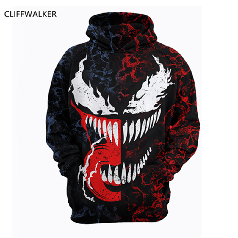 Dropshipping Summer Autumn Sweatshirts Venom 3D Printing Casual long-sleeved Hooded Pocket Pullover For Men's Women Tops US Size