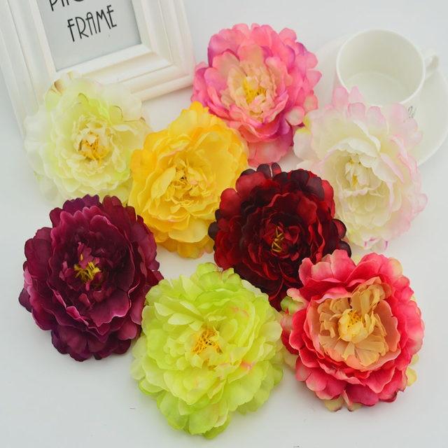 Online Shop 11cm Silk Peonies Head Artificial Flowers Cheap Vases